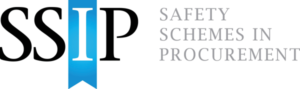 The main logo for safety Scheme in procurement. The letters SS and P are in black text whilst the I is in white and sits upon a blue ribbon