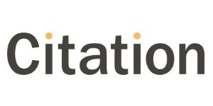 The main logo for Citation. Created in a dark grey font with the dots of both i's in yellow